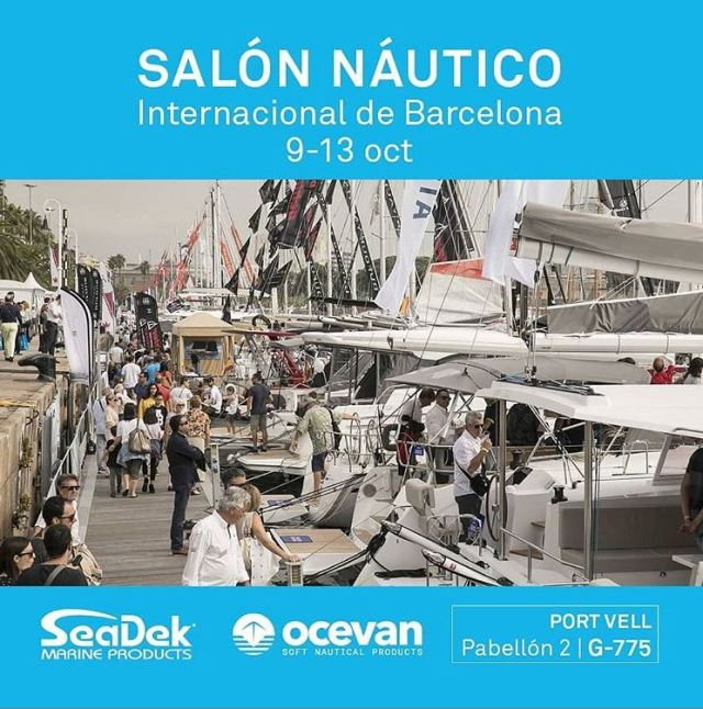 A row of sailboats with a SeaDek and Ocevan logo and booth location g-775