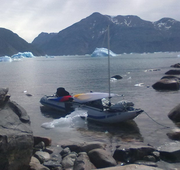 The PaddleSki's big enough, and tough enough, to brave icy waters. Note Gudumundur has rigged it with a sail.
