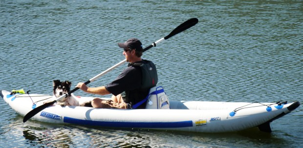 Steve Brauns and his constant companion, Meeker, ply the waterways of Colorado in their Sea Eagle FastTrack Kayak.