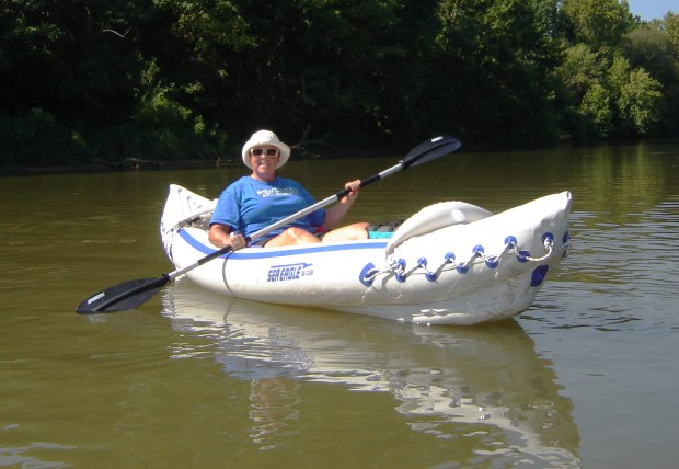 Vickie Estep goes boating on the Chattahooche River in Georgia in her Sea Eagle 330. She's a cancer survivor and uses boating as a key piece of her cancer recovery program.