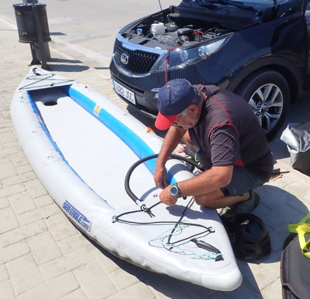 """Our little electric pump connected just fine to the battery terminals of our rental car,"" said Bill. ""After being out on the water, we'd just deflate our Sea Eagles, fold them loosely, toss them in the trunk."""