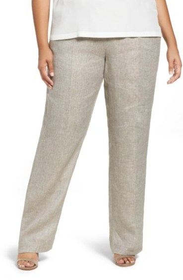 "Tall Plus Size Linen Pants with 36"" Inseam"