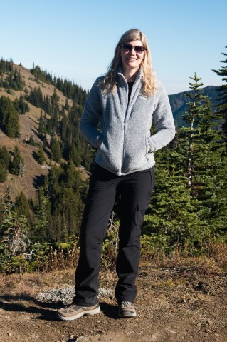 Women's polar fleece-lined pants at Olympic National Park