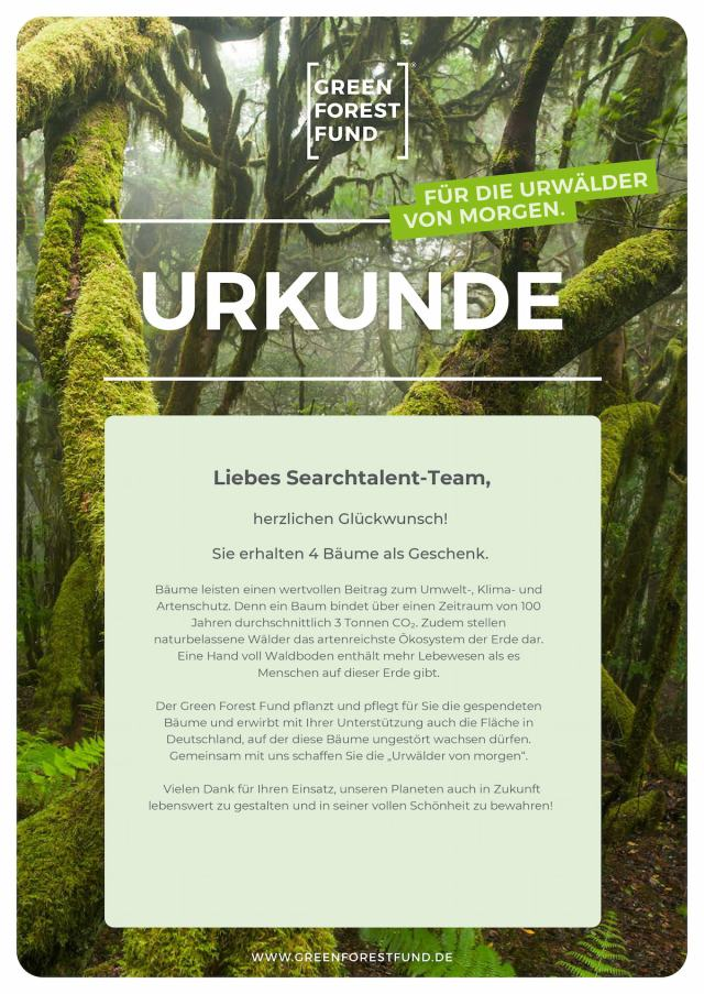 Searchtalent is green Urkunde