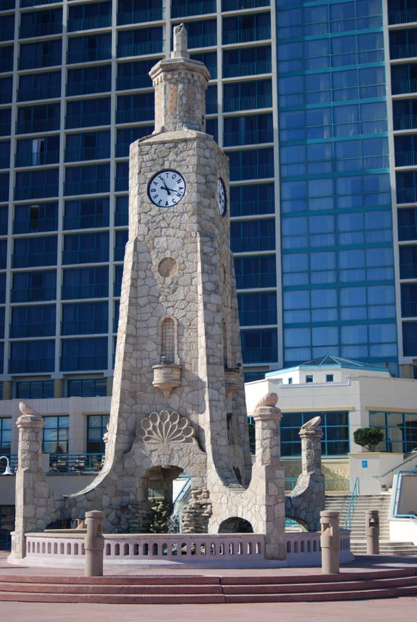 A front view of the stone historic Clocktower in Daytona Beach