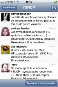 Capture d'écran du hashtag #SNCP