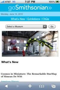 Capture d'écran, GoSmithsonian sur mobile