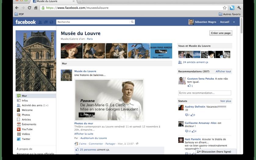 Page Facebook du musée du Louvre