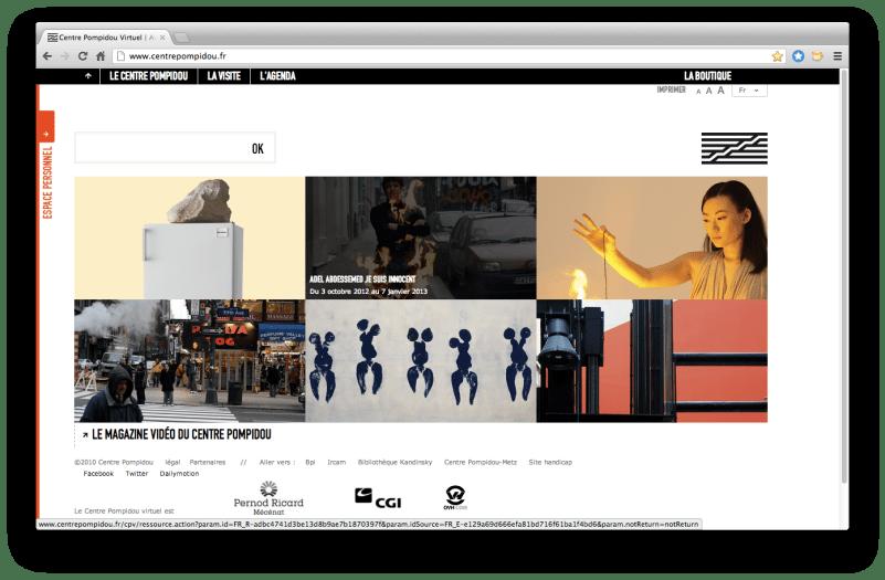 Capture d'écran, page d'accueil du site du Centre Pompidou, octobre 2012