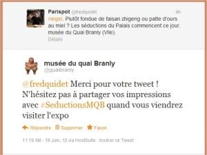 Échange @fredquidet et @quaibranly sur Twitter
