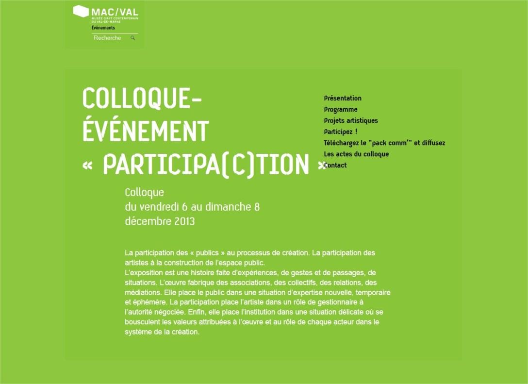 Colloque-événement Participa(c)tion au MAC/VAL.