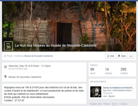 Événement Facebook du Musée de Nouvelle-Calédonie
