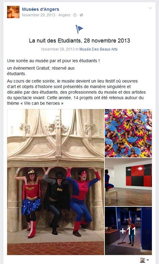 Vue sur la page Facebook des Musées d'Angers