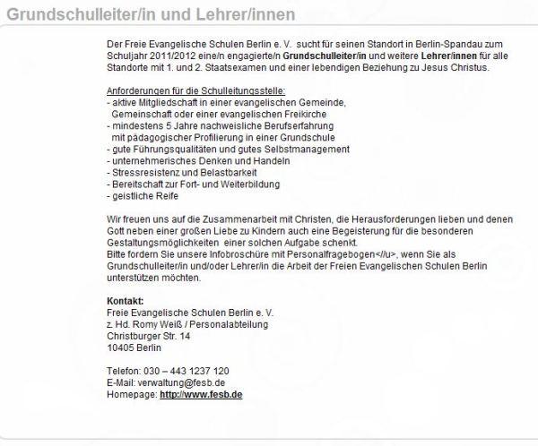 Job Angebot als Schuldirektor Grundgesetzwidrig auf Jesus.de