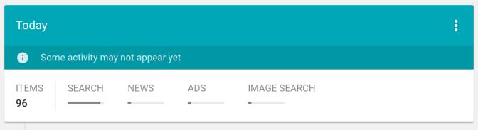 "Bundle view"" of Google's My Activity."