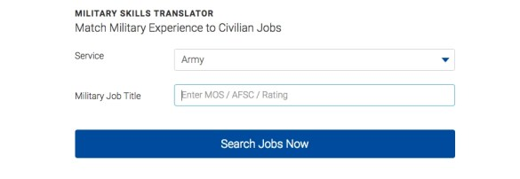 image of military.com's skills translator