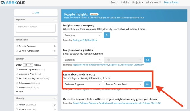SeekOut Recruiter questions people insights tool