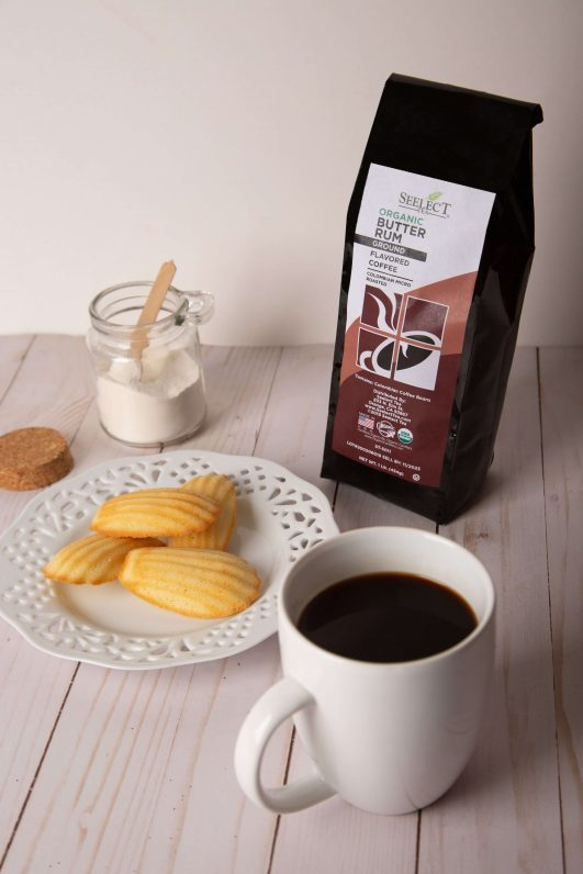 Madeleines and Butter Rum Flavored Coffee