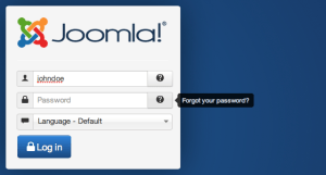 joomla login password