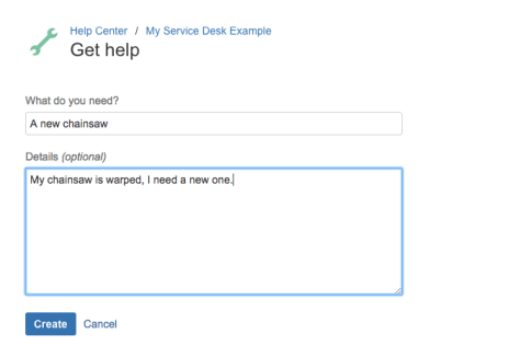 A user creates a new request in JIRA Service Desk.