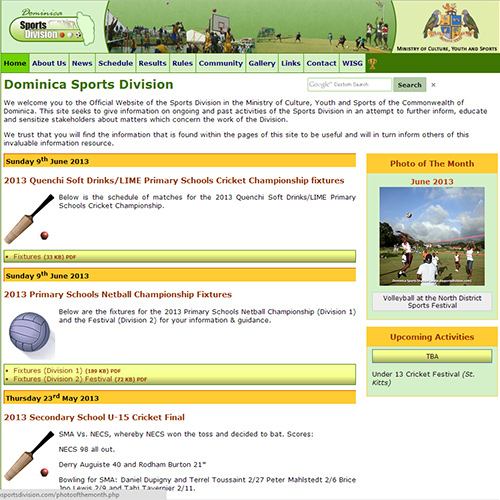 2013 Dominica Sports Division website