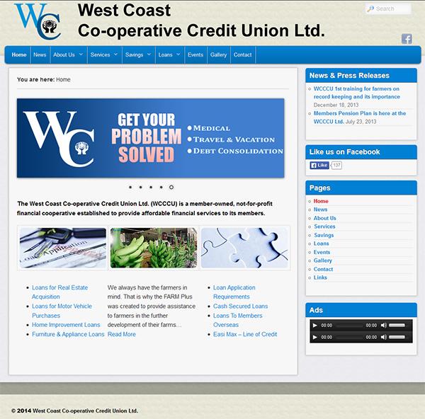 West Coast Co-operative Credit Union Ltd. Website