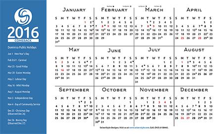 Comeback 2016 Calendar