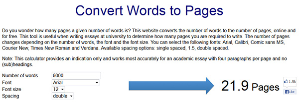 Convert words to pages screenshot