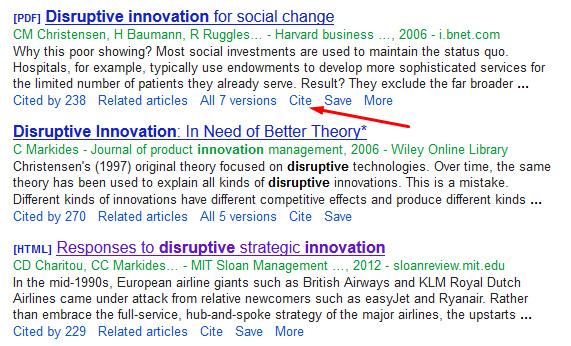 Google Scholar search results screenshot