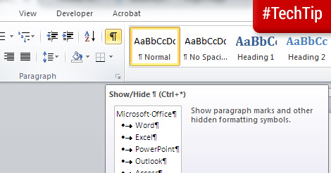 Tech Tip: Hide paragraph marks and formatting symbols in Word