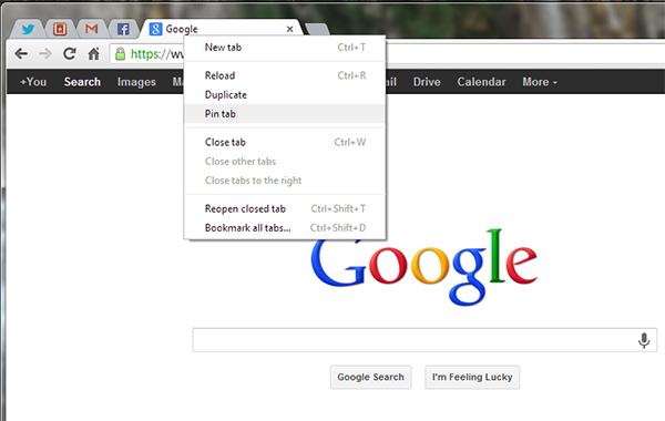 Pin tab (Chrome)