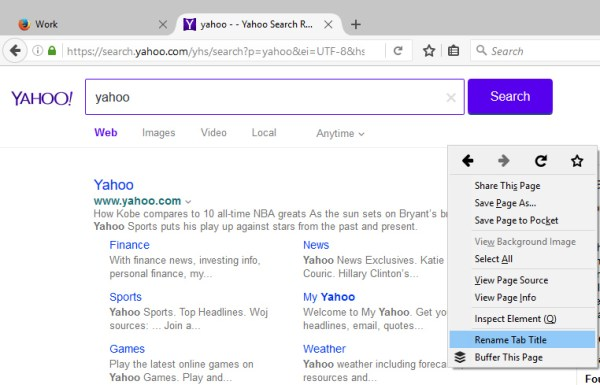 Rename browser tab title in Firefox