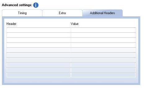 cabeceras - configuración avanzada de SendBlaster