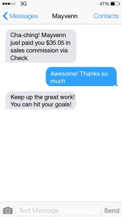 SMS Status Updates on Commissions