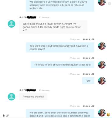 Shaun Makes a Sale through SMS in Sonar's interface