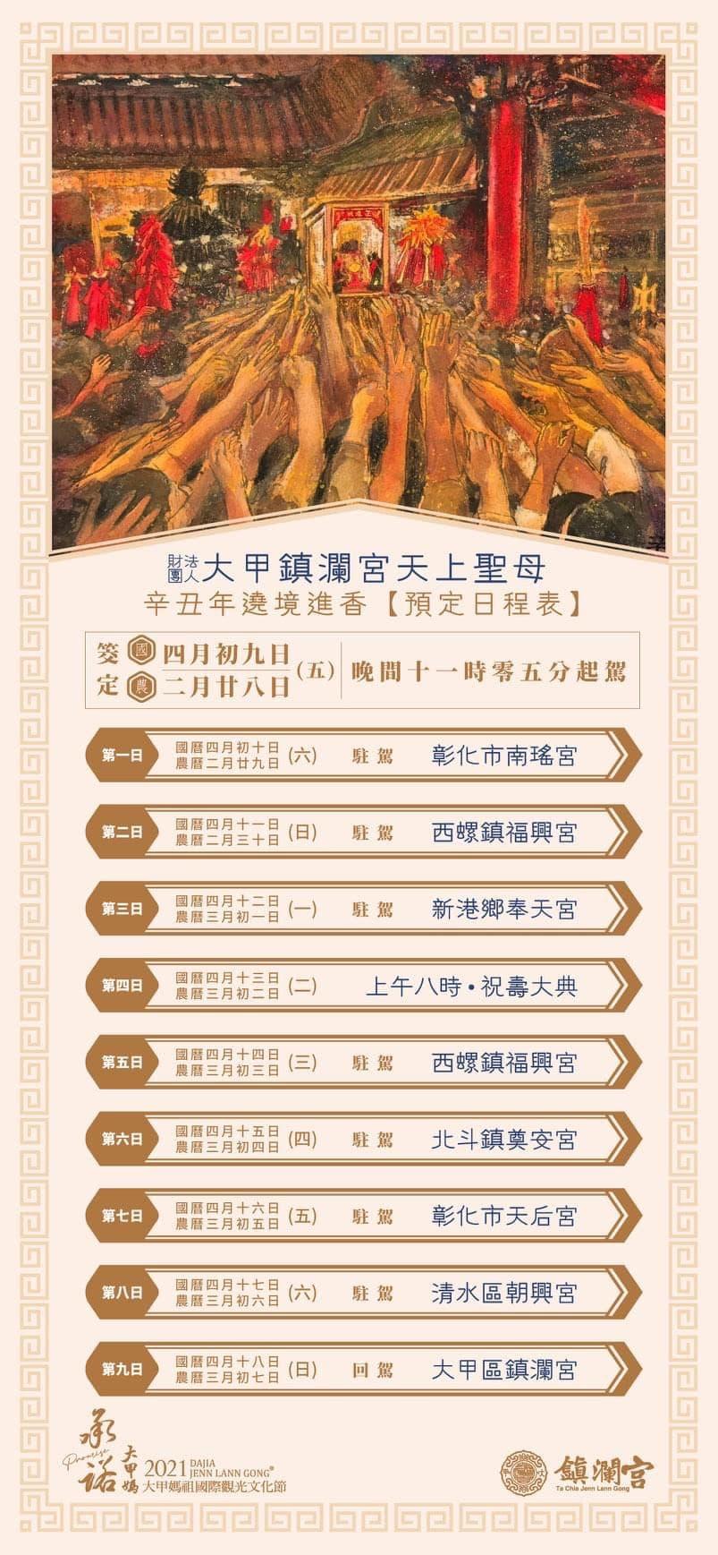 2021大甲媽祖遶境日程表 | 東南旅遊
