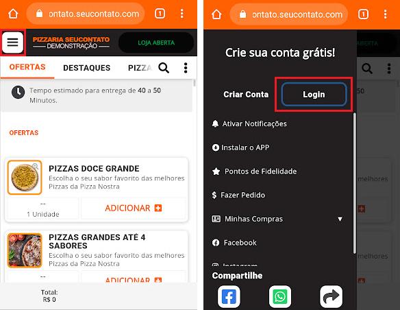 Captura do menu no Smartphone