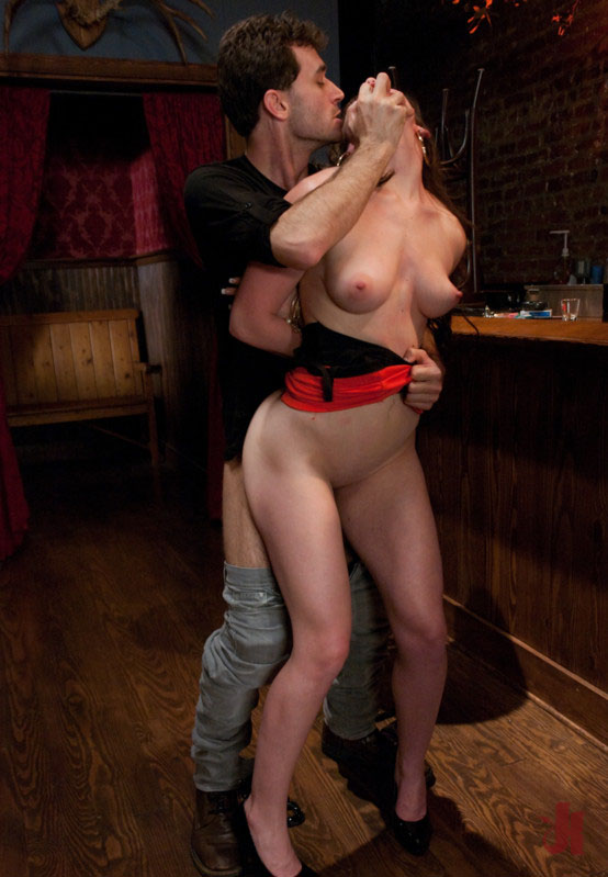 Brunette client is getting felt up by a barman late at night