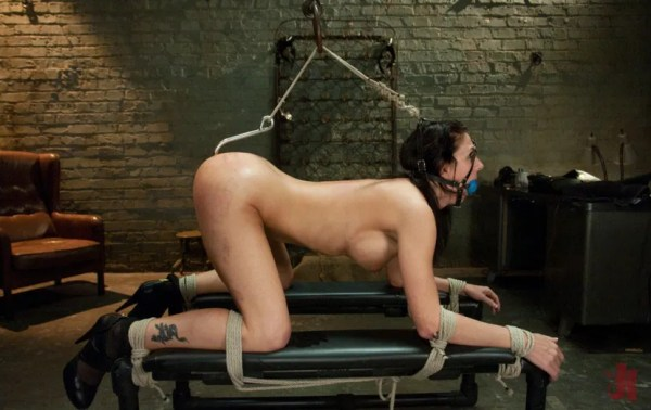 Brunette slave is bound in rope and has an anal hook inserted that is tied to her hair