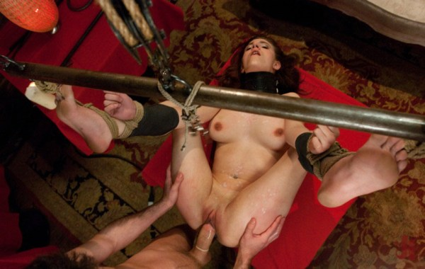 Bound in rope brunette gets fucked hard in her pussy after having her body covered in wax