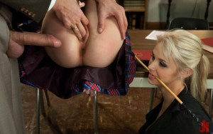 Sultry school girl gets her pussy probed while the other blonde slut watches in threesome brutal sex