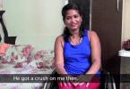 A screenshot from the video of Nisha and Chetan showing Nisha, smiling.