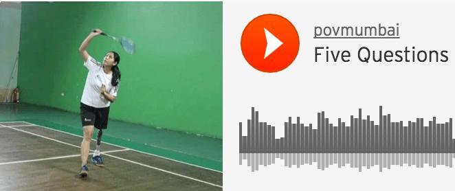A photo of knee amputee Manasi Joshi playing badminton.