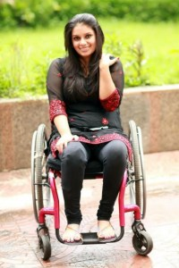 Picture of Virali Modi in a wheel chair