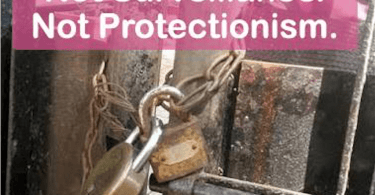 """A photograph of a lock on a gate with the title """"Not Surveillance. Not Protectionism""""."""