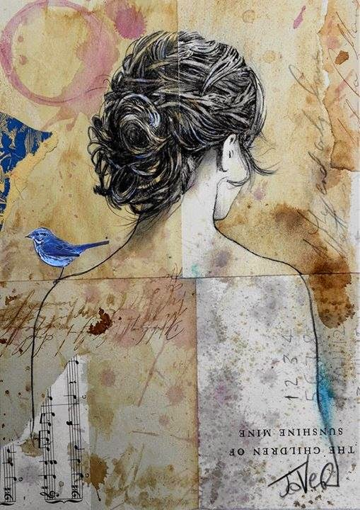 A painting of a woman standing with a bluebird on her shoulder by Loui Jover.