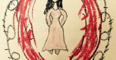A crayon drawing of a woman standing enclosed by a red oval and black barbed wire by jwiener (https://blogs.harvard.edu/semart2015/)