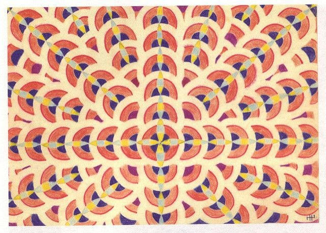 An image of a symmetrical pattern of colours that looks like a rangoli.