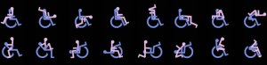 An illustration of three rows showing a male in a wheelchair having sex in different sexual positions with a female