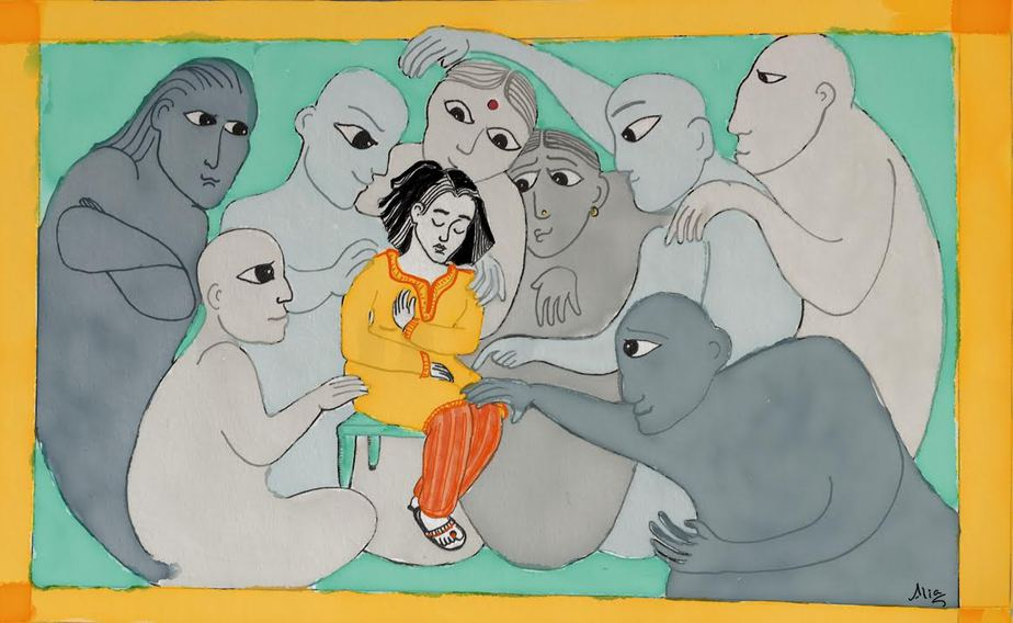 An illustration of a young woman sitting on a stool, with her eyes closed. She is surrounded by several people, depicted in different shades of grey, who are reaching out their hands to caress her.